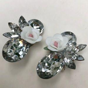 Vintage rhinestone acrylic flower earrings
